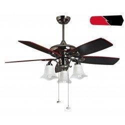 RedWin von Purline KlassFan ein schwarzer, vernickelter Deckenventilator, schwarz / rote Flügel, mit LED-Licht